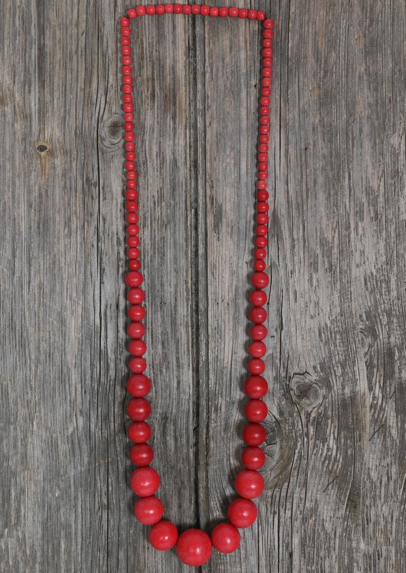 Long Wood Bead Necklace Red | Karma East Australia