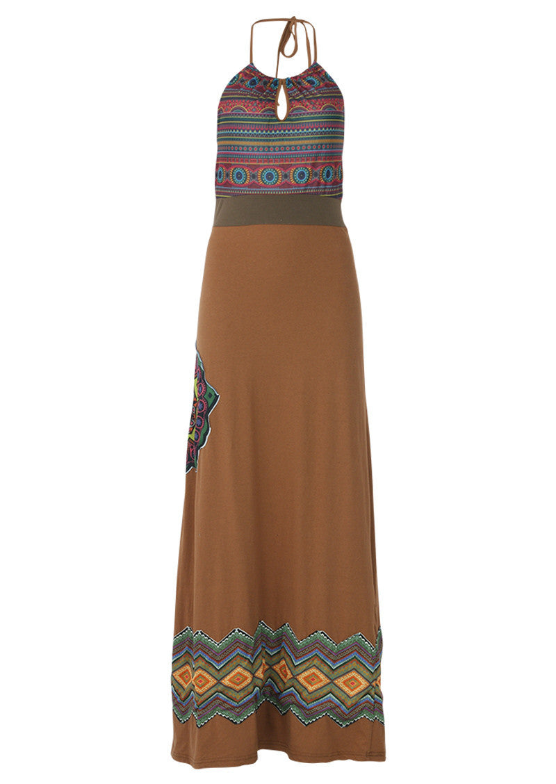 Boho Maxi Dress Tan Colour | Karma East Australia