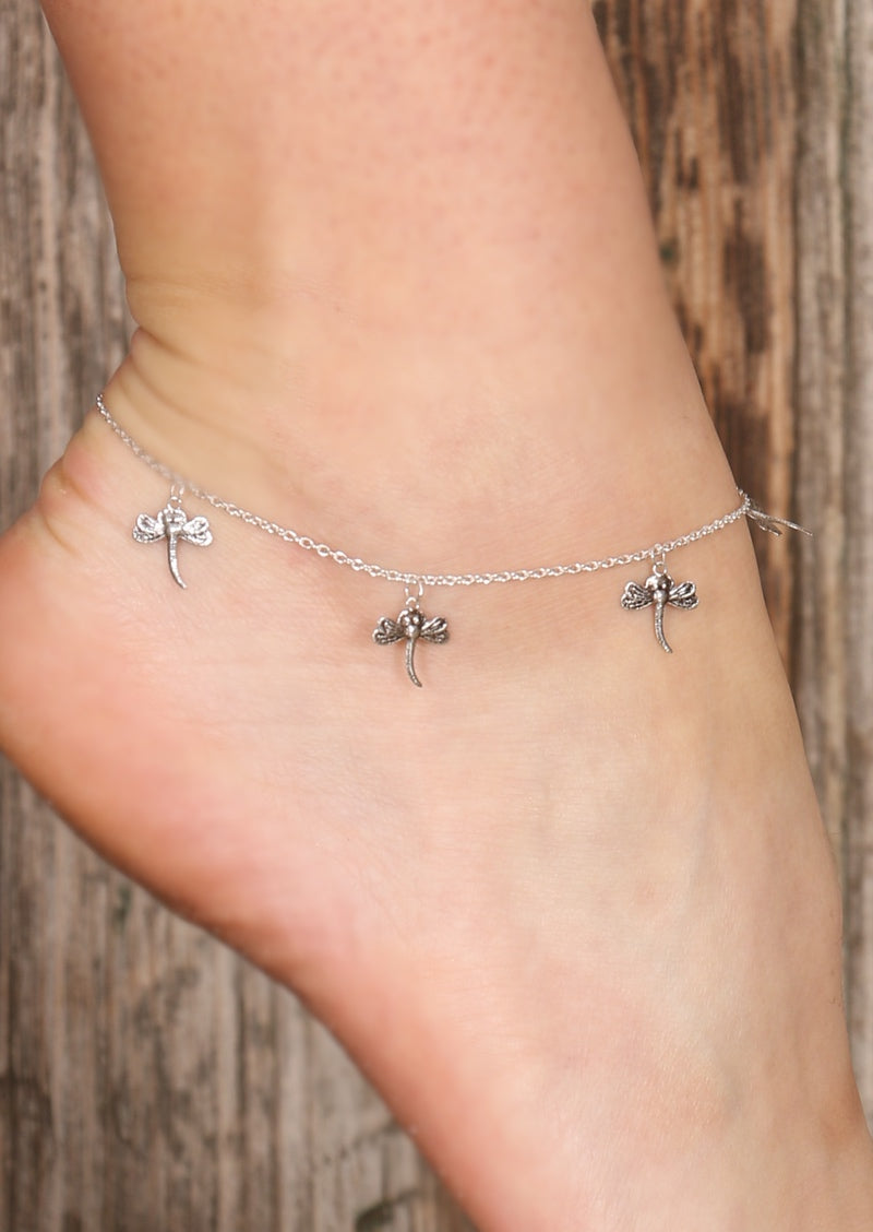 Dragonfly Silver Anklet