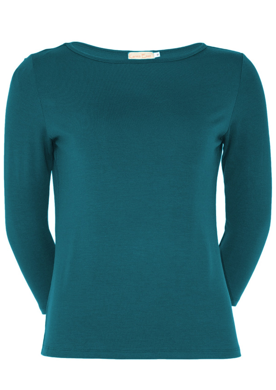 Fitted Boat Neck Top Teal
