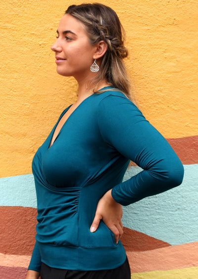 False Wrap Top Teal