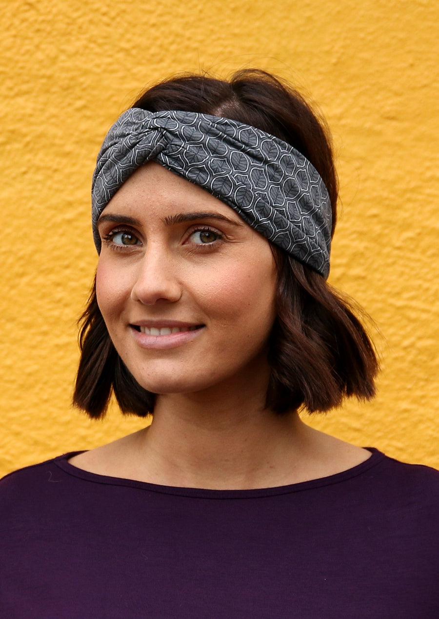 Turban Headband Leaf Grey