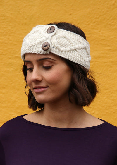 Knitted Wool Button Headband Natural