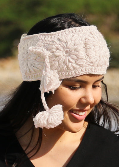 Crocheted Wool Headband Natural