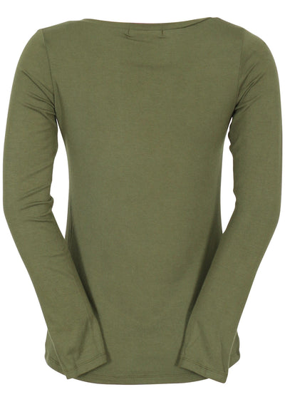 Long Sleeve Stretch Rayon V-neck Top Olive