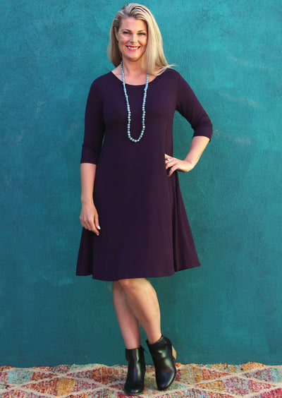 Half Sleeve Jersey Dress Aubergine