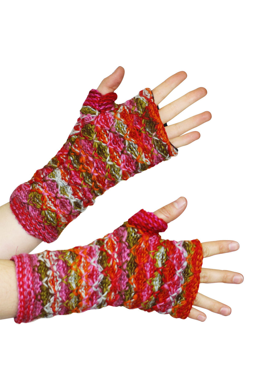 Knit Wrist Warmers Rose Garden