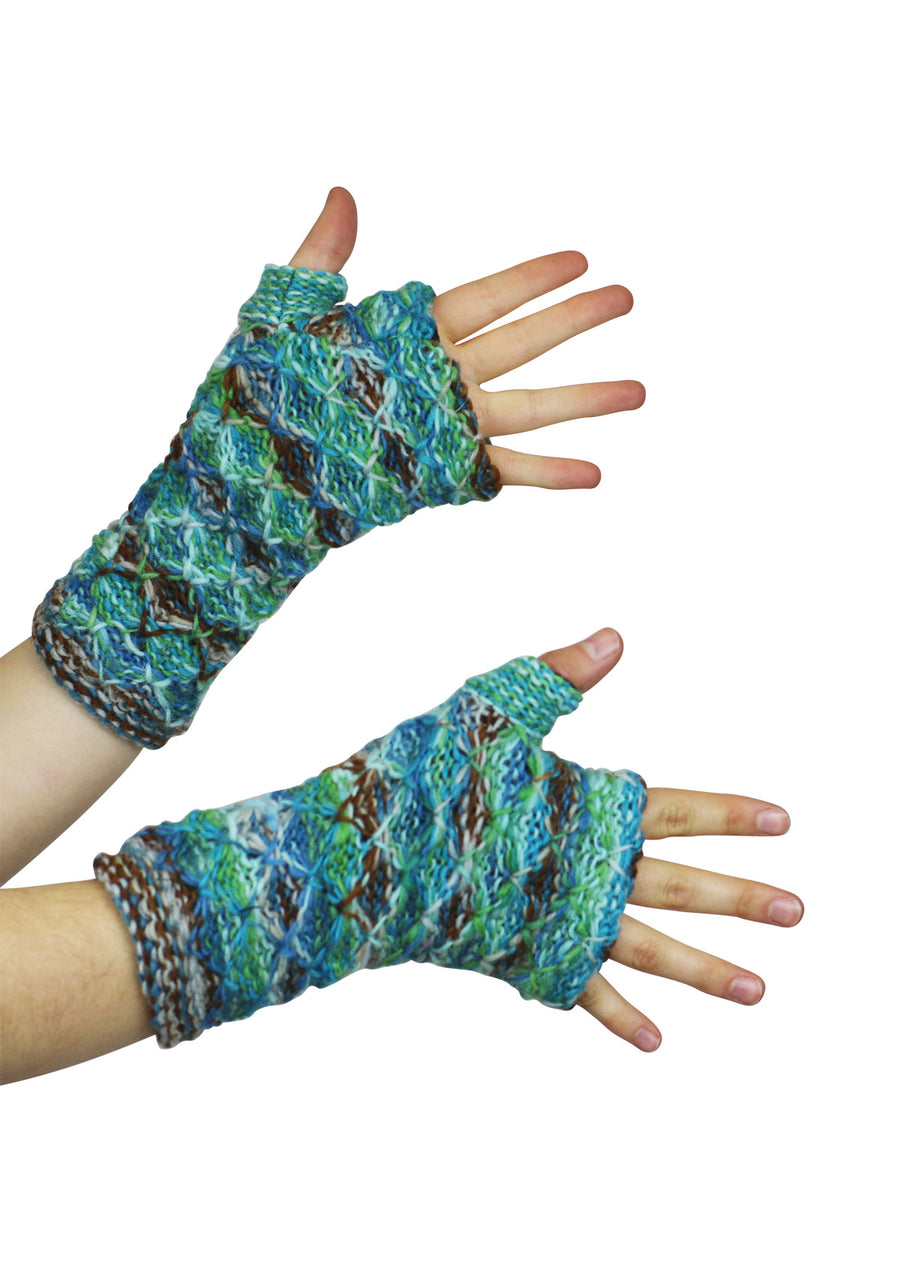 Knit Wrist Warmers Ocean Breeze