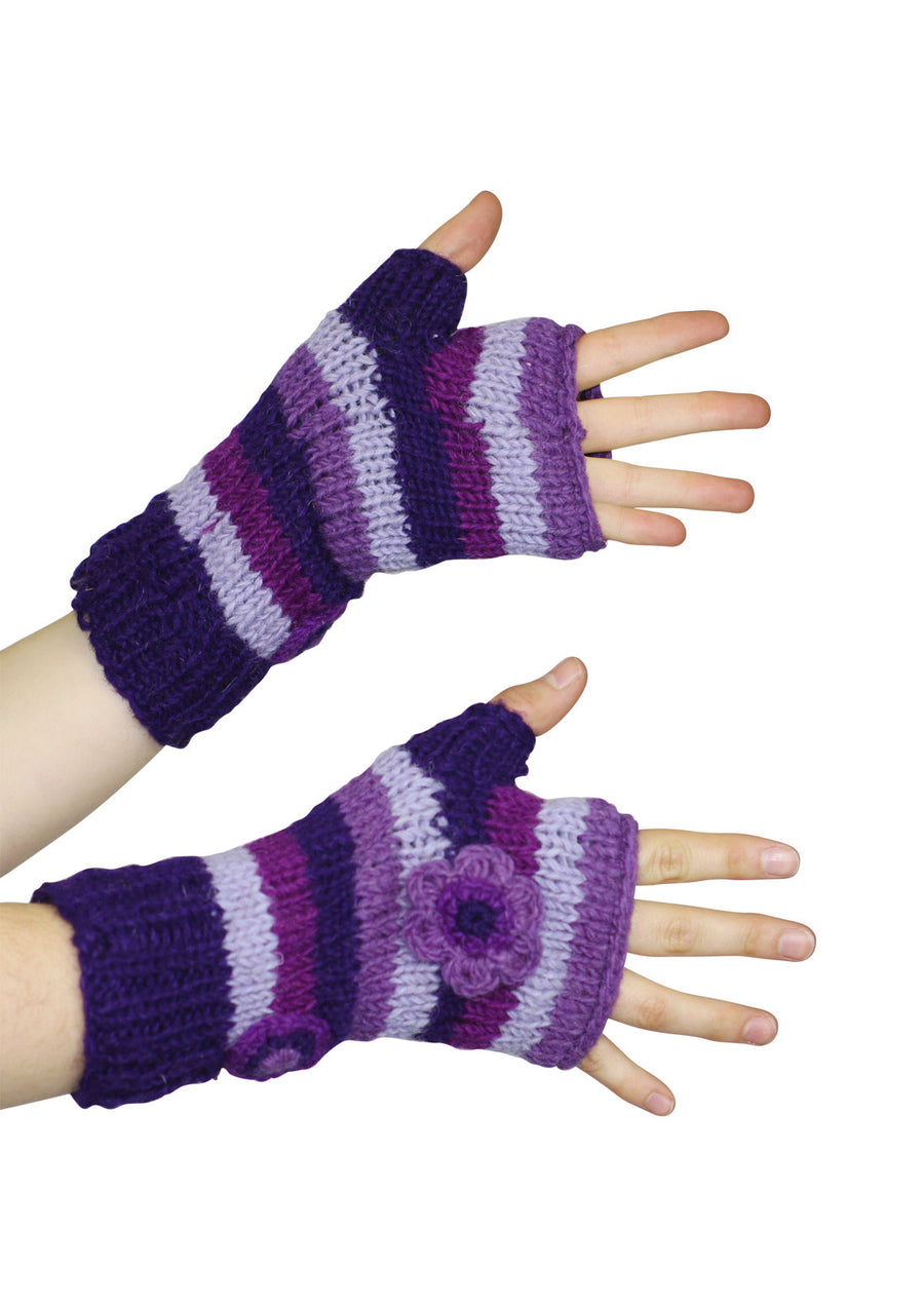Stripy Knit Wrist Warmers Purple