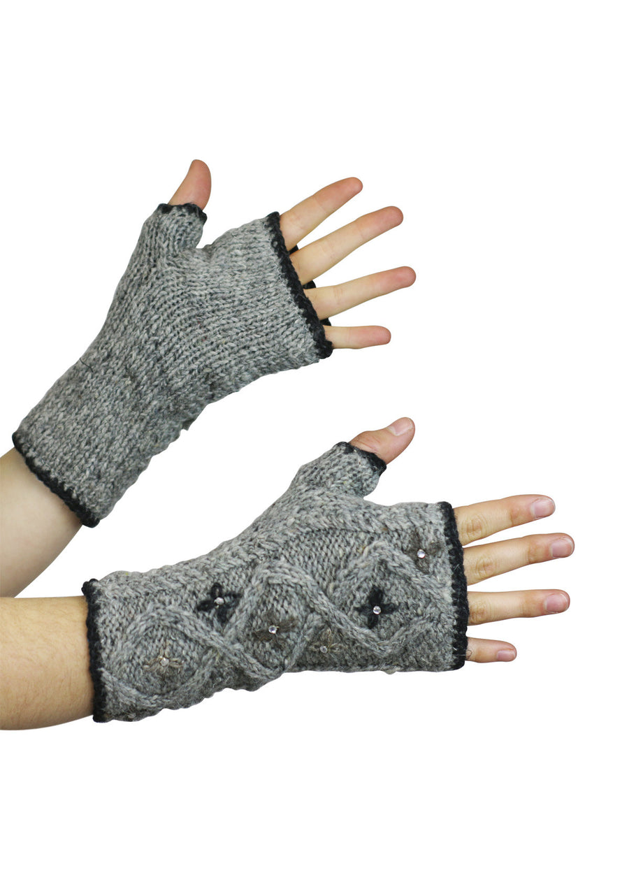 Star Flower Wrist Warmers Grey