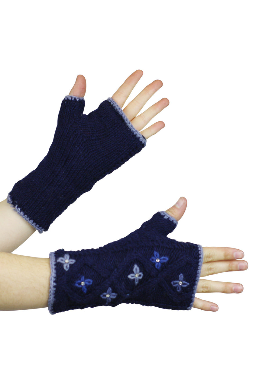Star Flower Wrist Warmers Midnight
