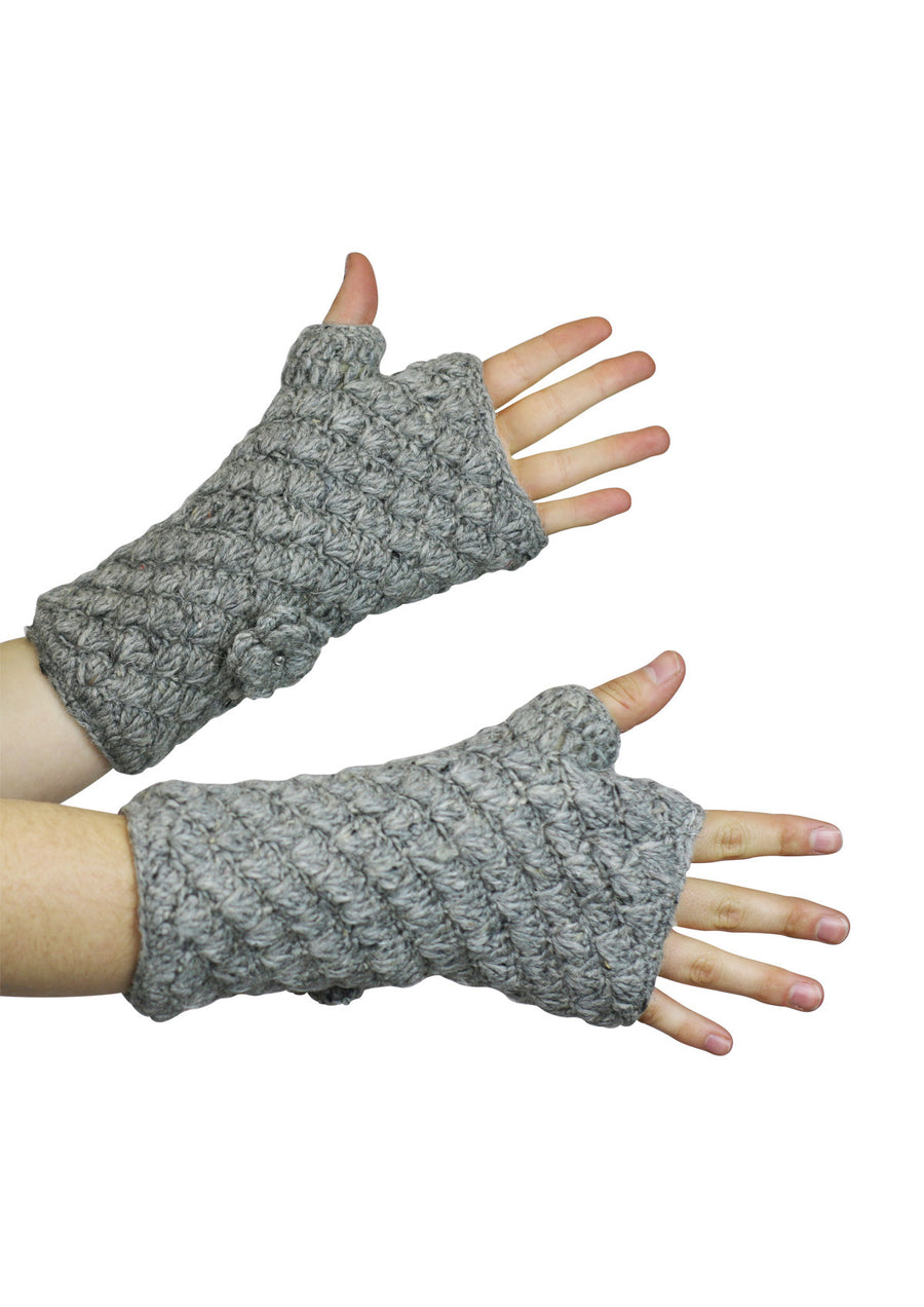 Knitted Wrist Warmers Light Grey