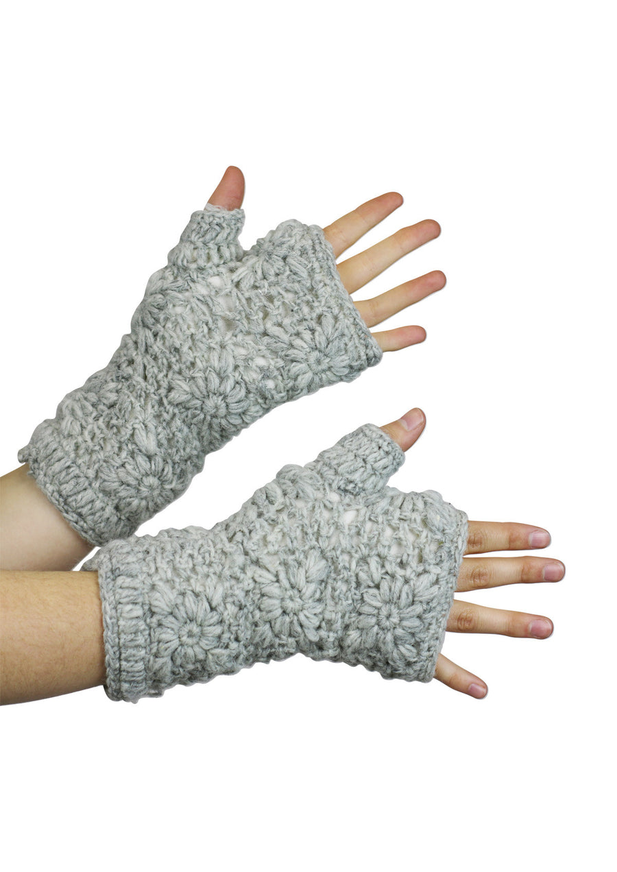 Crochet Wrist Warmers Light Grey