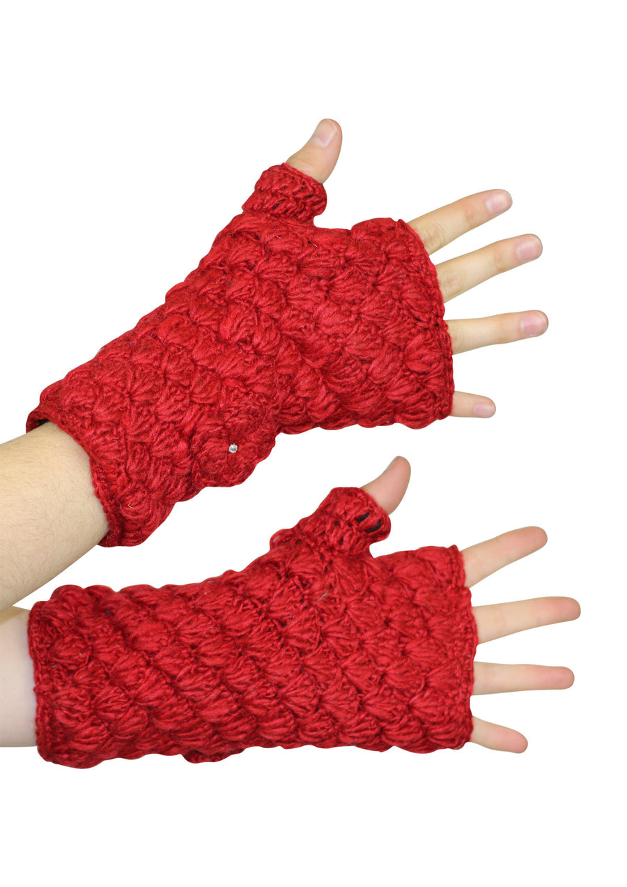 Knitted Wrist Warmers Red