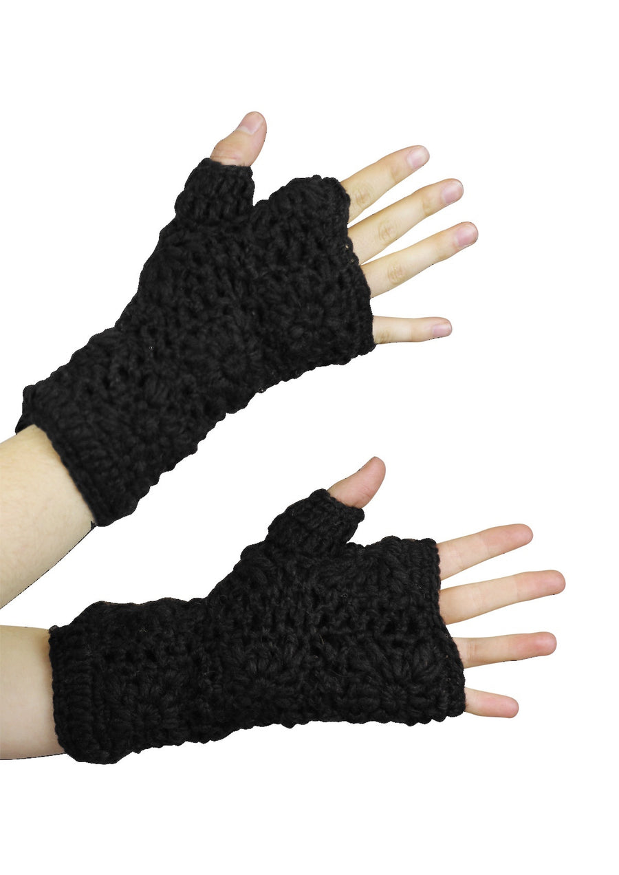 Crochet Wrist Warmers Black