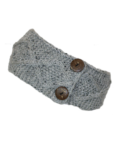 Knitted Wool Button Headband Grey Marle