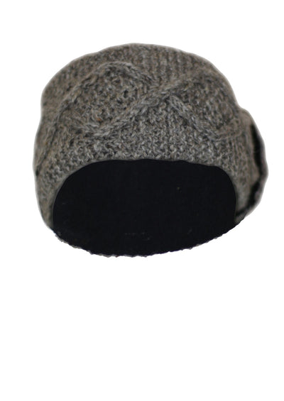 Knitted Wool Button Headband Taupe