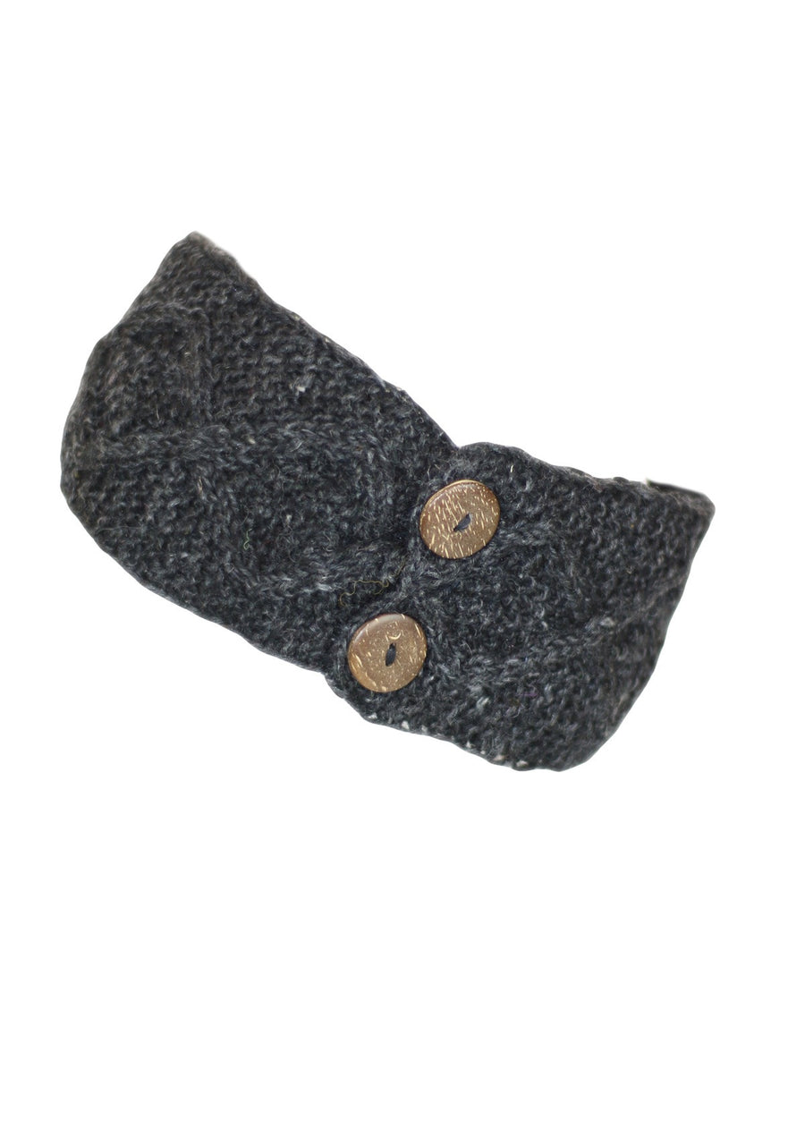 Knitted Wool Button Headband Charcoal