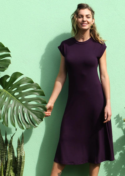 Womens Dresses Purple Stretch Fabric | Karma East Australia
