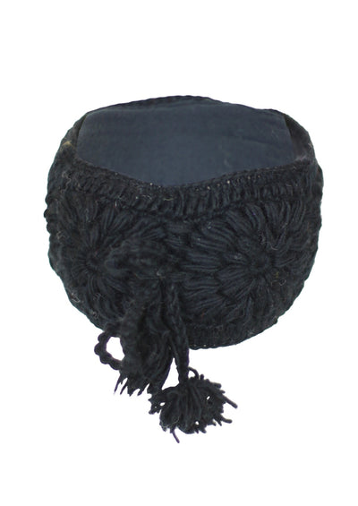 Crocheted Wool Headband Black