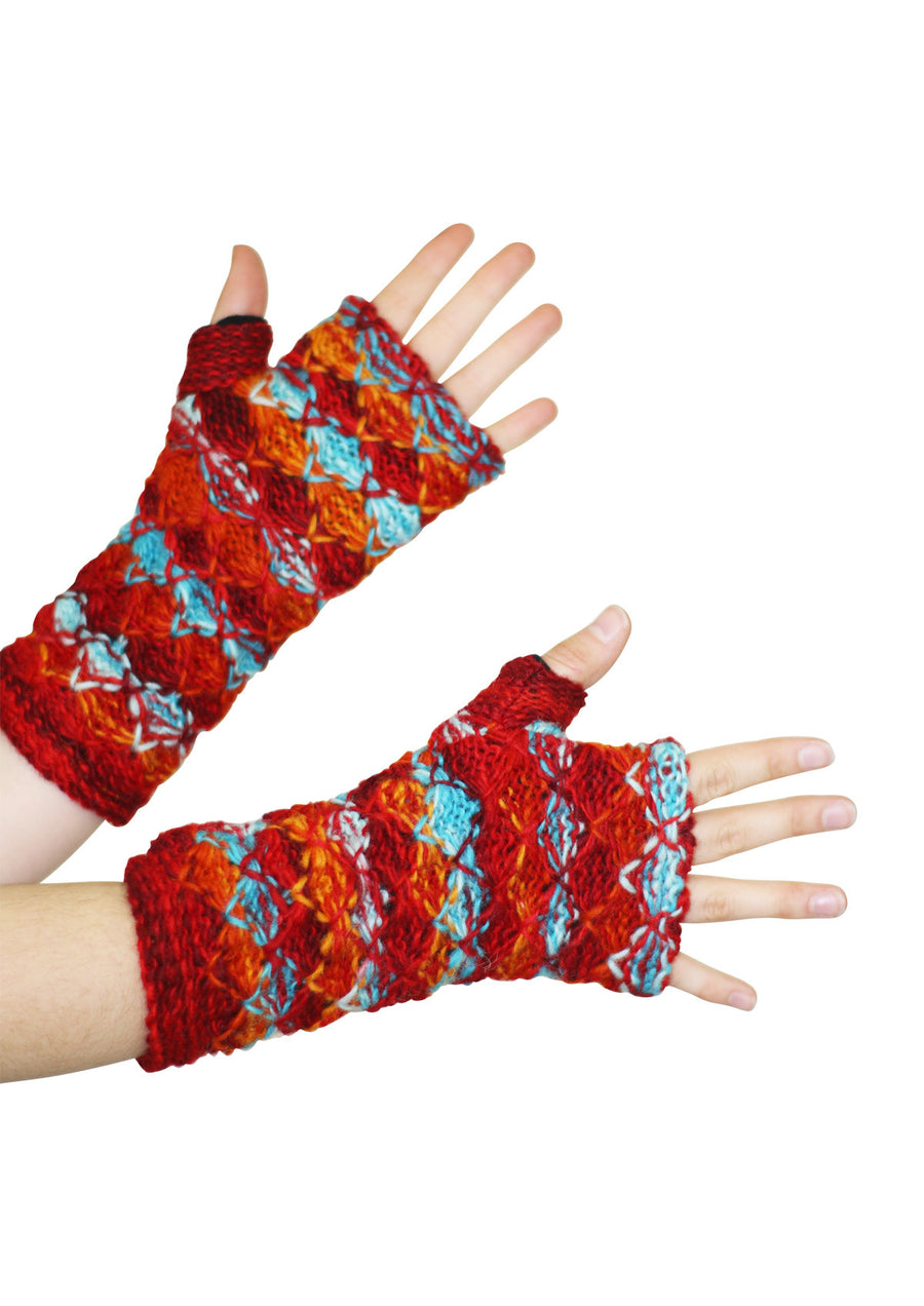 Knit Wrist Warmers Sunset