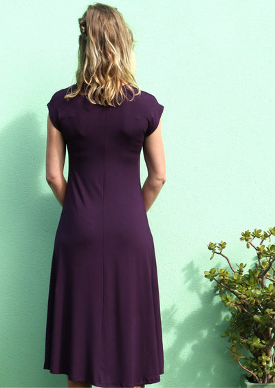 A-line Stretch Rayon Dress Aubergine