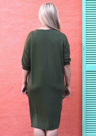 Cuffed Sleeve Jersey Dress Olive