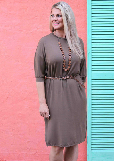 Cuffed Sleeve Jersey Dress Cocoa