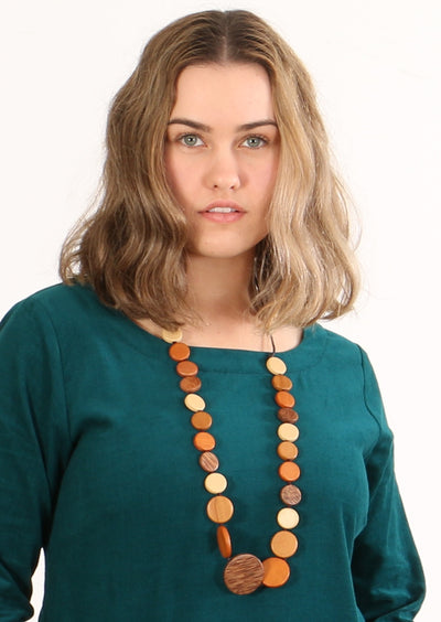 Long Wooden Necklace Brown | Karma East Australia