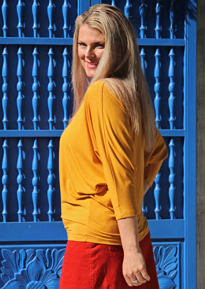 3/4 Sleeve Batwing Top Mustard