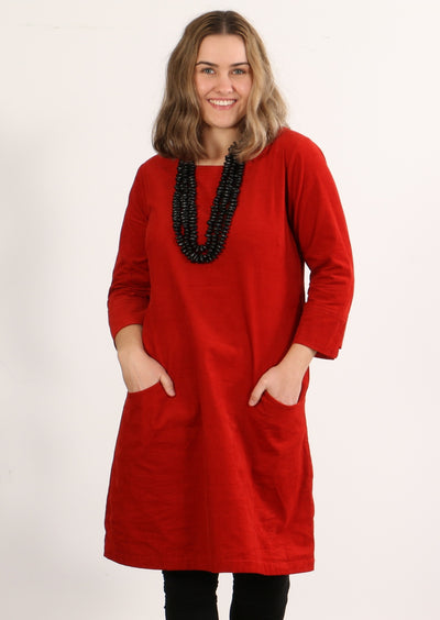 3/4 Sleeve Cord Dress Tabasco