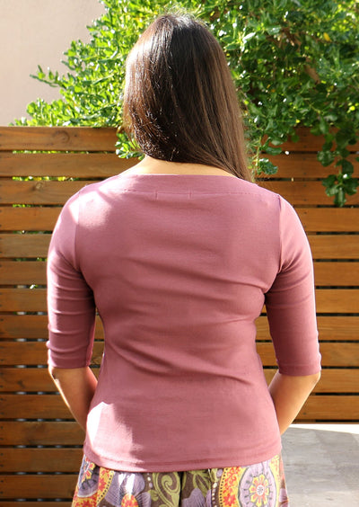 Stretch Cotton Wide Neck Top Berry Pink