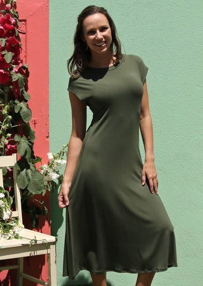 Womens Dresses Olive Stretch Fabric | Karma East Australia
