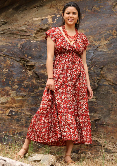Boho Maxi Dress Rust Floral | Karma East Australia