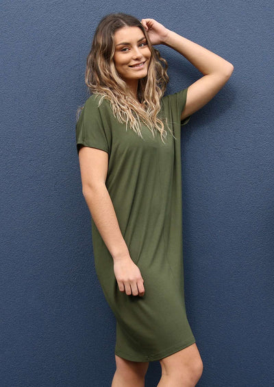 """Flexigon"" False Wrap Dress"