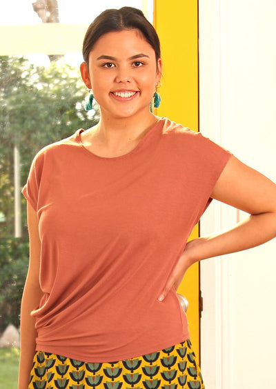 Asymmetrical Rayon Top Dusty Rose
