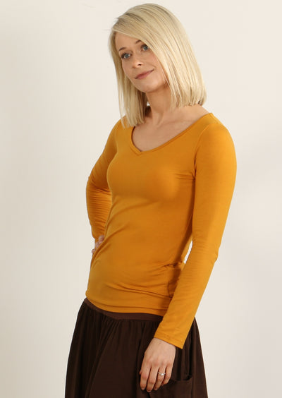 Long Sleeve Stretch V-neck Top Mustard