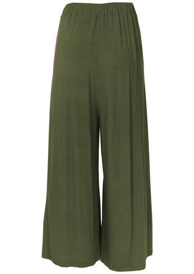 Wide Leg Stretch Pocket Pants Olive