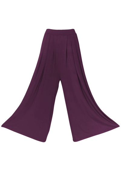 Wide Leg Stretch Pocket Pants Aubergine