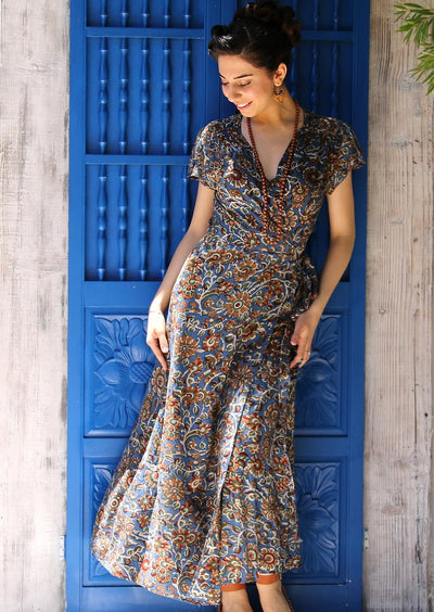 Boho Maxi Dress Rayon Francesca Blue Vines | Karma East Australia