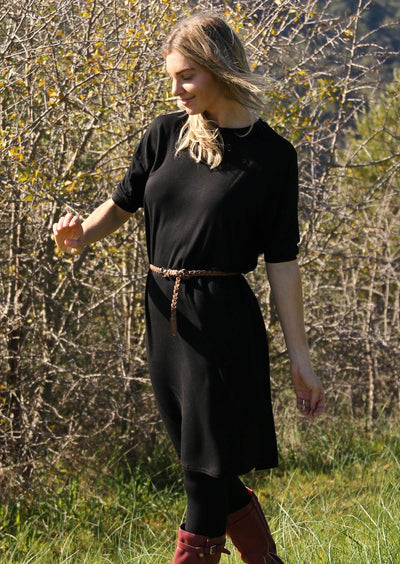 Cuffed Sleeve Jersey Dress Black