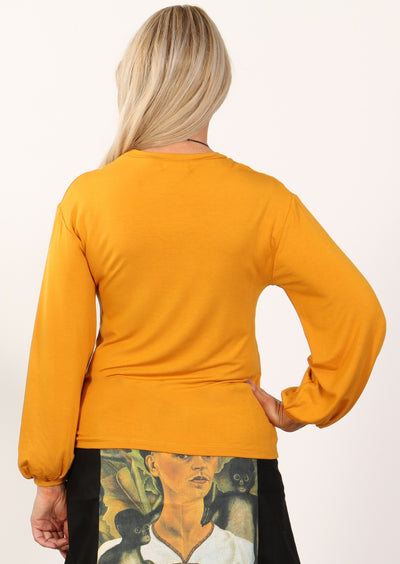 Lantern Sleeve Top Mustard