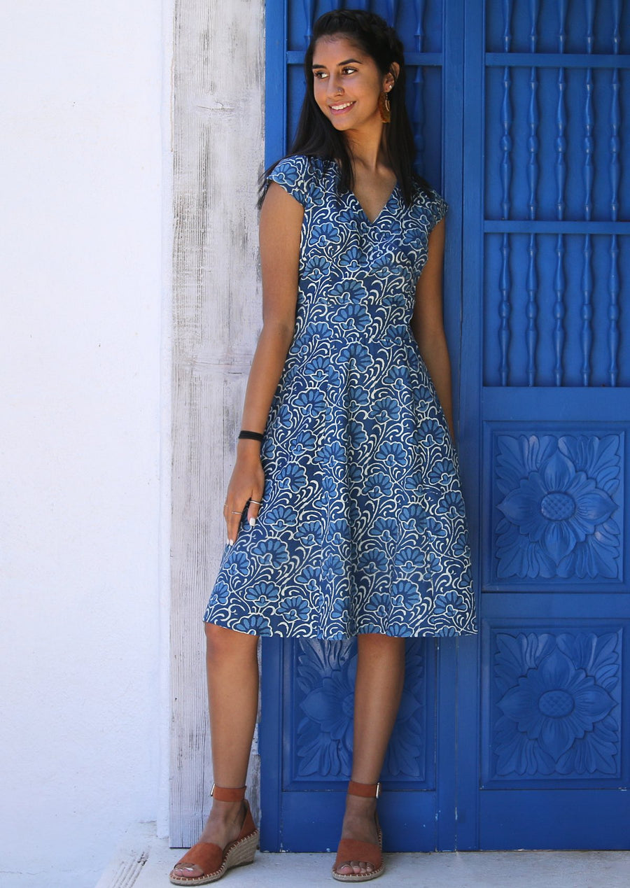 Alice Retro Vintage Style Cotton Dress Blue Lotus | Karma East