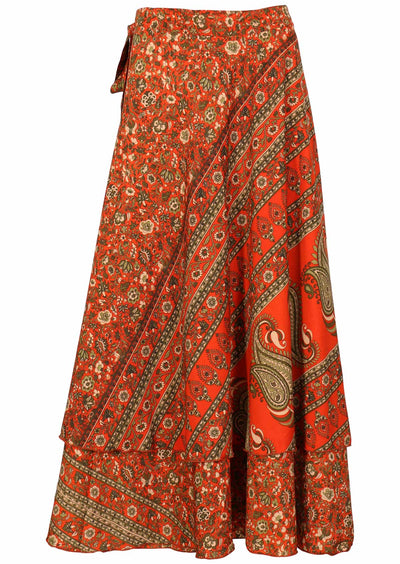 Priya Wrap Skirt Orange