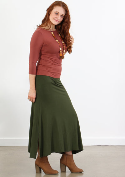 Simple Stretch Skirt Olive