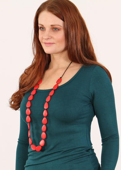 Layla Long Necklace Red