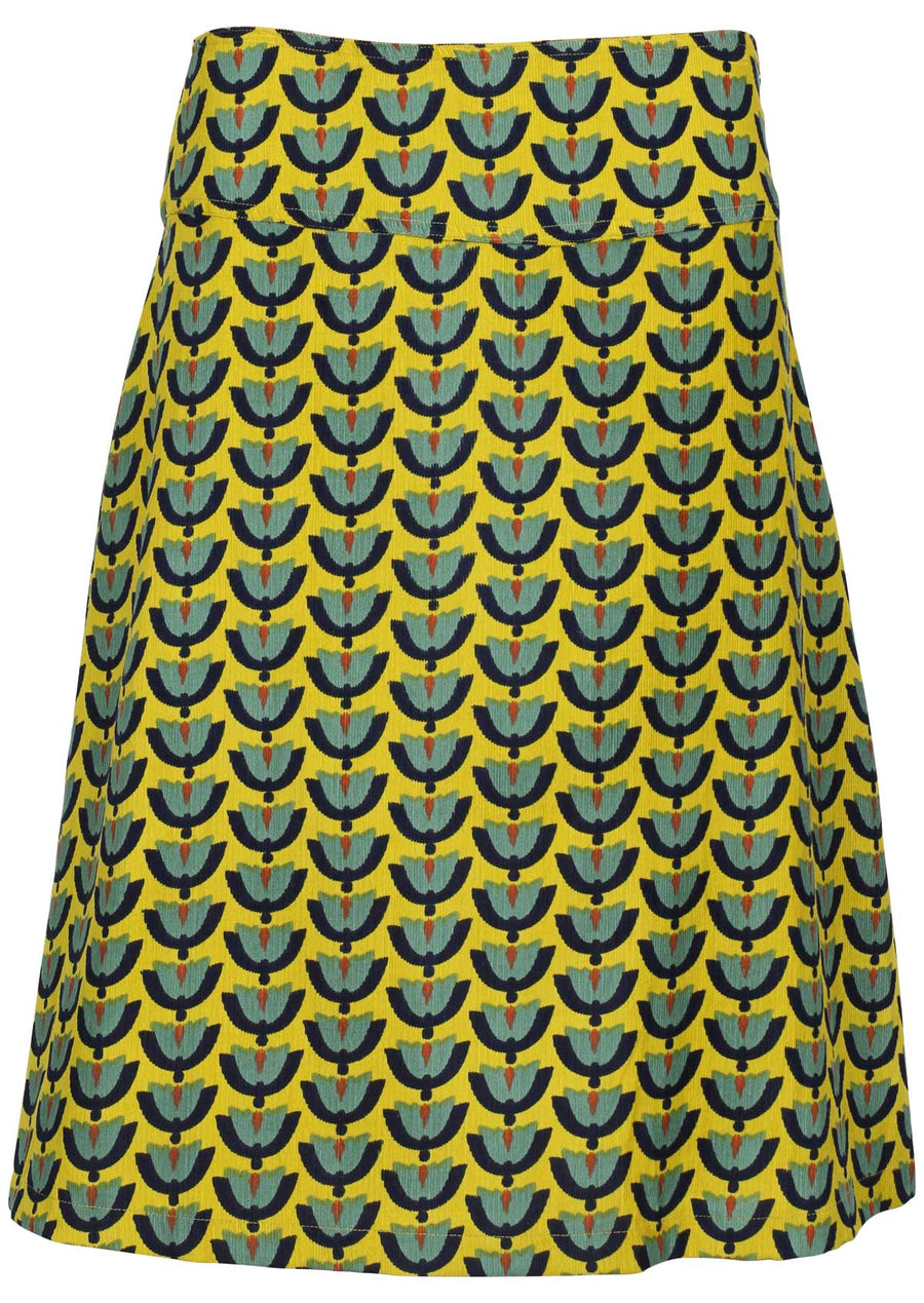 Yellow Tulips A-line Cord Skirt