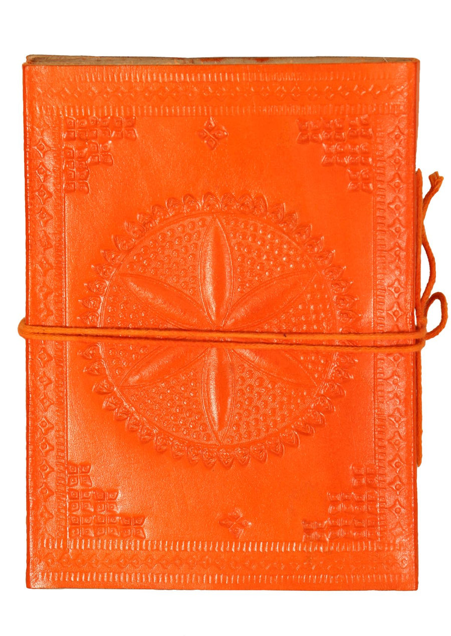 Embossed Leather Notebook 11x15cm Orange