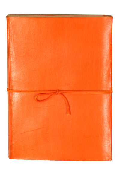 Plain Leather Notebook 12.5x17.5cm Orange