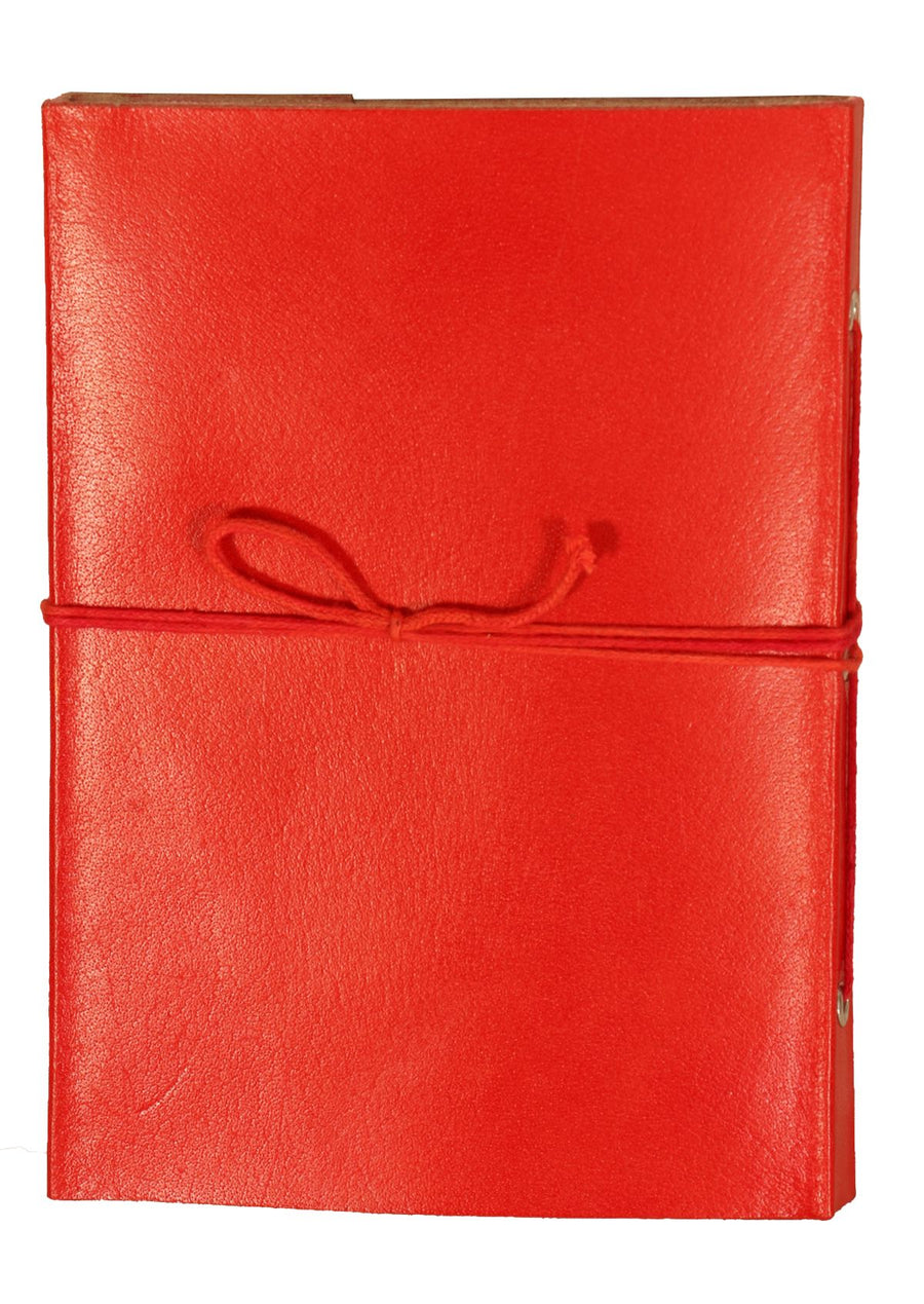 Plain Leather Notebook 12.5x17.5cm Red